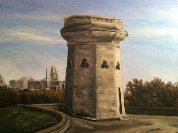 Moorish Tower, Druid Hill Park, Baltimore, Maryland, Lamont W. Harvey, Wes Harvey, oil painting